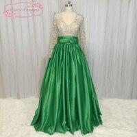 SuperKimJo Luxe Crystal Kralen Prom Jurken met Strass Lange Mouw V-hals Hunter Green Prom Gown Vestido De Festa