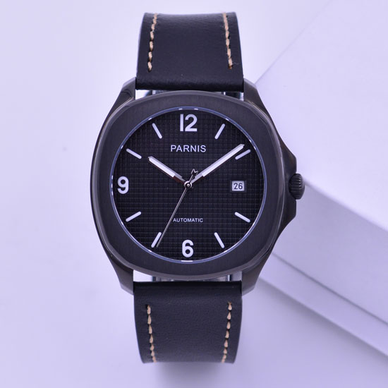 40mm parnis watch black PVD case black dial automatic mechanical mens watch miyoa 821A 40mm parnis white dial vintage automatic movement mens watch p25
