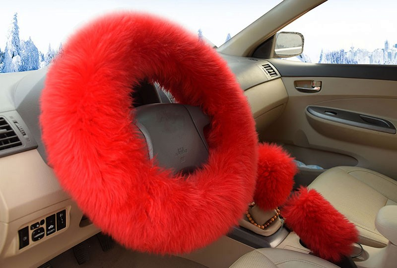 Winter Warm Wool Handbrake Cover Gear Shift Cover Steering Wheel Cover 38cm diameter 1 Set 3 Pcs 11