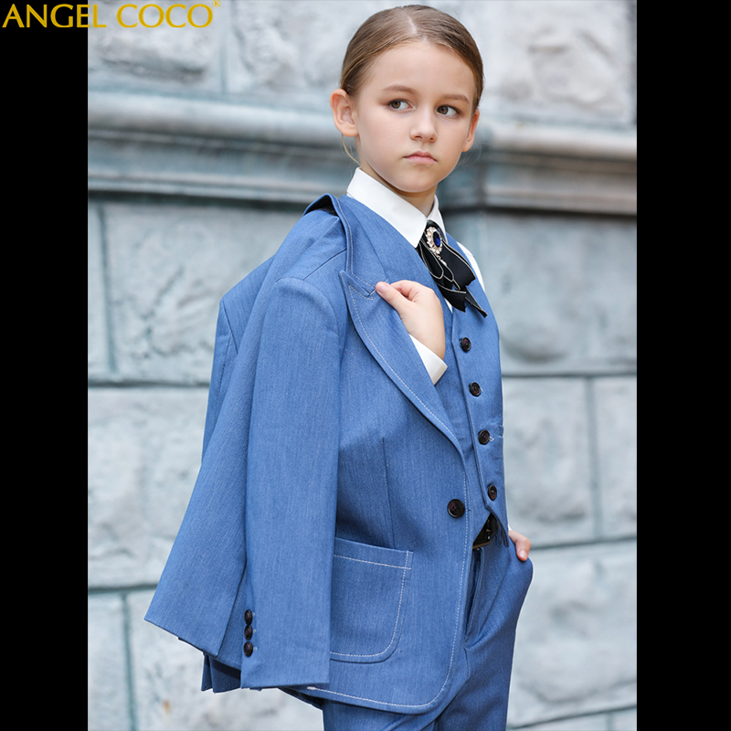 Formal Blue Girls Suits For Weddings Kids Blazer Suit For Boy Costume Enfant Garcon Mariage Jogging Garcon Blazer Boys Tuxedo