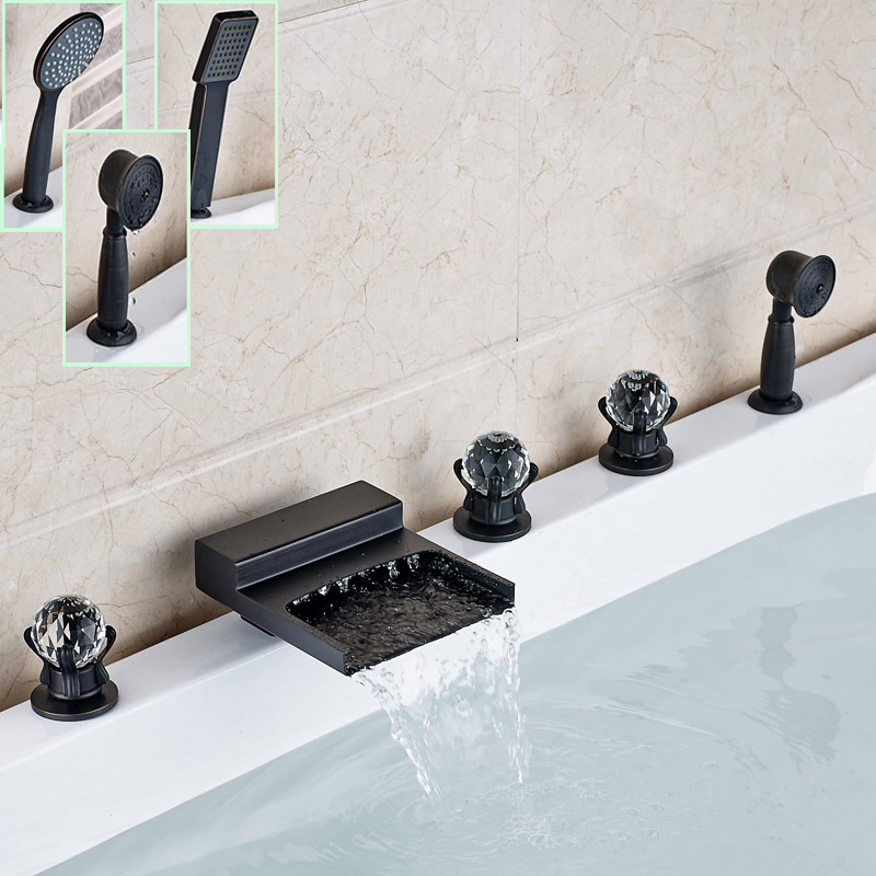 Luxury Widespread Waterfall Bath Tub Sink Faucet Side Deck Mounted Brass Bathtub Mixers with Handshower