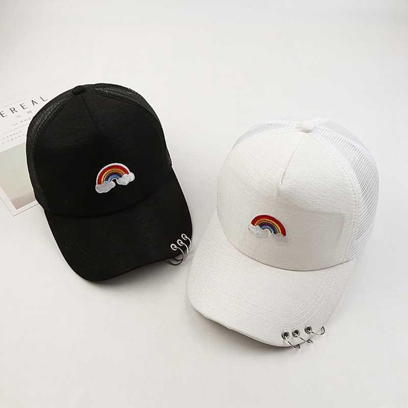 4ed62e4545b Rainbow Embroidery Cotton Casquette Baseball Cap Hip-hop Cap Adjustable  Snapback Hats For Men Women