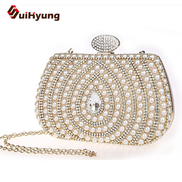 Free Shipping Luxury Diamond Women's Evening Bags Patchwork Pearls Crystal Wedding Small Clutch Purse Ladies Party Handbag Purse