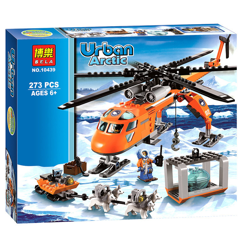 273pcs City Police Series Arctic City Polar Adventure Life helicopter Aircraft Mini Bricks Blocks Compatible Building Blocks Toy