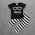 2pcs/set  2017 fashion Glasses short sleeved printed t-shirt and striped pants suitable 0-2 years old children
