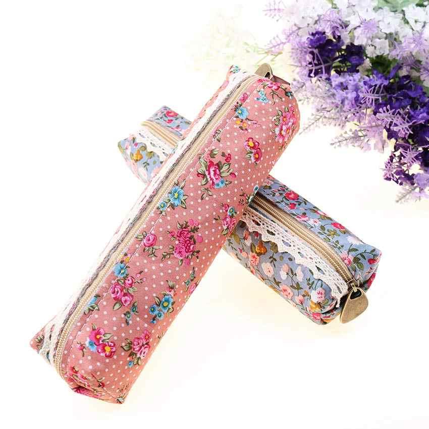 Высокое качество мини-платье в стиле ретро с цветочным принтом шнурованная ручка сумка Карандаш сумка, школьные принадлежности косметичка на молнии Чехол кошелек 1 предмет