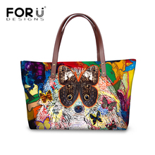 FORUDESIGNS Hand-printed Women Fashion Graffiti Design Cross Body Bags Cute Animal Dog Cat Printing Tote Shoulder for