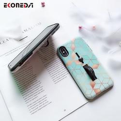 EKONEDA Hidden Holder For iPhone 7 Plus Case iPhone X Case Ring Relief Ingradient Geometric For iPhone XS Max XR 6S 8 Plus Case 3