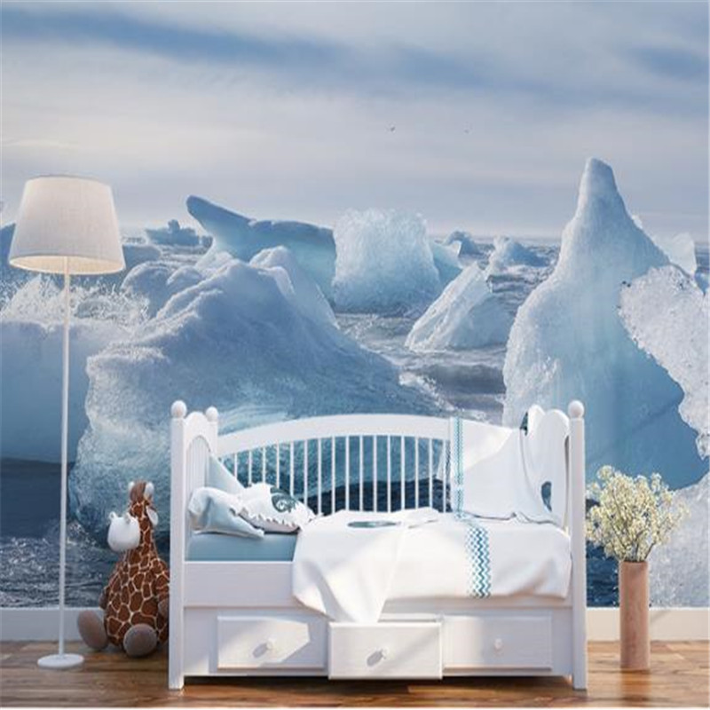 Custom Photo Murals 3D Snow Scenery Wallpapers Nature Painting Walls Papers with Glacier Pictures for Living Room TV Home Decor custom photo size wallpapers 3d murals for living room tv home decor walls papers nature landscape painting non woven wallpapers