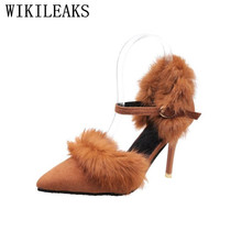 escarpins femme 2017 mary janes pointed toe stiletto sapatos mulher ladies fur woman wedding shoes sexy high heels women pumps(China)
