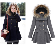 Fashion Detachable Faux Fur Hood Woolen Jacket, Sweet Peplum Design Double Breasted Ladies Wool Jacket