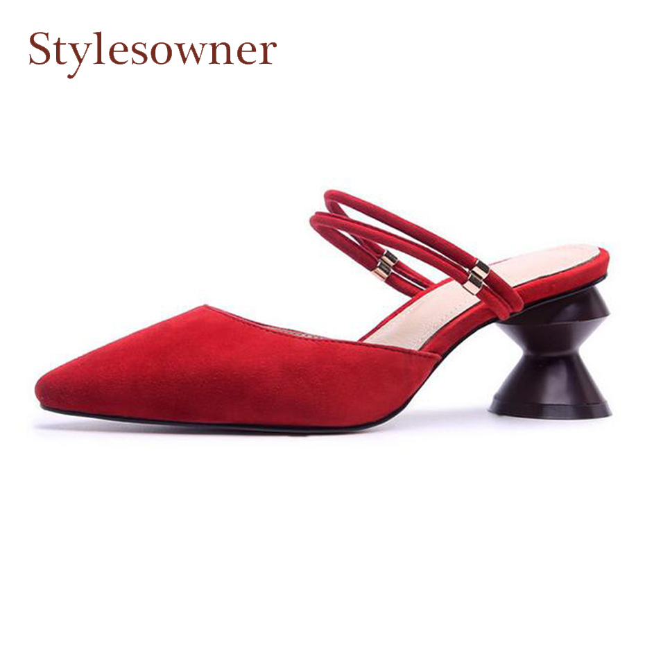 Stylesowner black red suede leather women slippers strange high heel pointed toe two wear summer sandals fashion mules shoes kjstyrka 2018 brand designer women mules pointed toe ladies shoes med heel sandals black red lattice fashion girls shoes