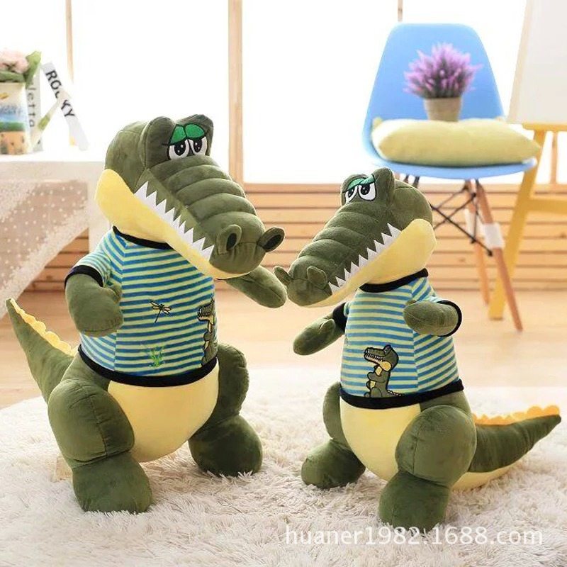 58cm Cartoon Crocodile Plush Pillow Staffed Animal Crocodile Doll with Clothes Toy birthday gift