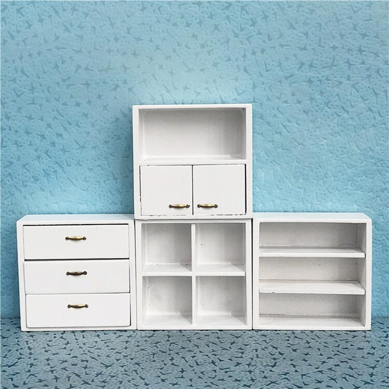 1:12 Mini Doll House Accessories White Furniture Birch Drawer Four-In-One White Cabinet