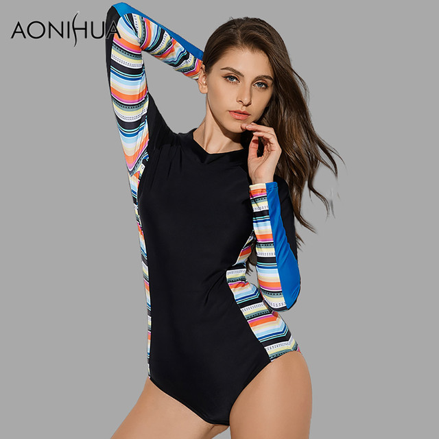 77fdc88a348ce AONIHUA 2018 Sport Long sleeve Surfing One Piece Swimsuits Women Push up  Rash Guards Swimwear female Front zipper Bathing Suit