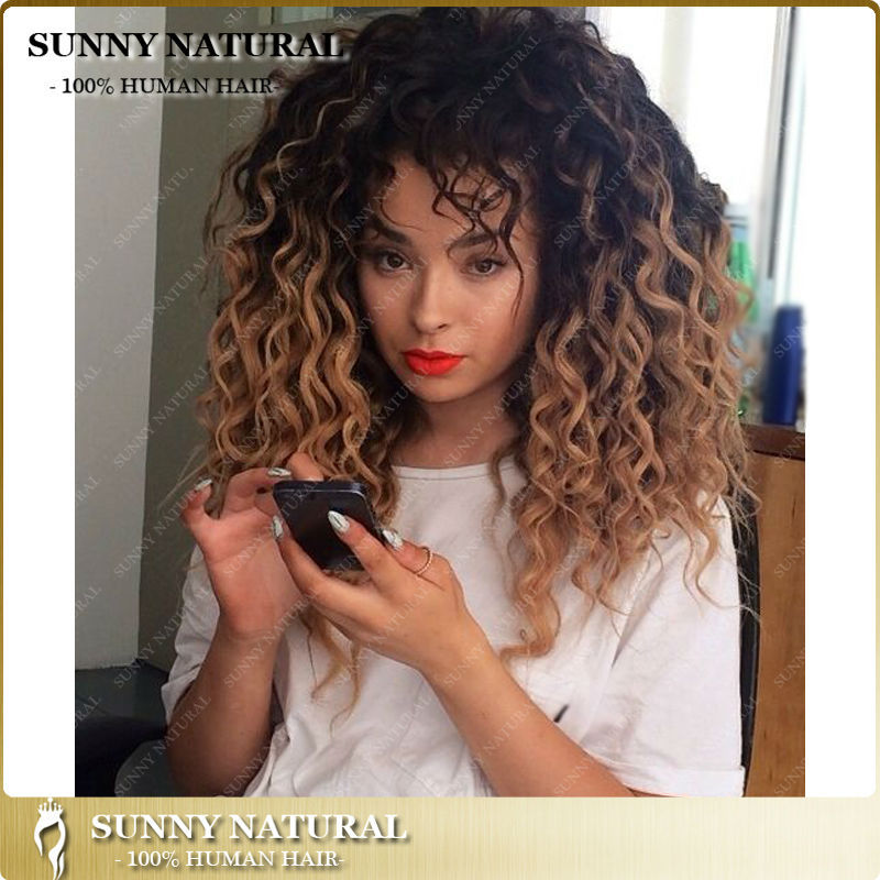 Ombre Curly Human Hair Wig Honey Blonde Ombre Glueless Full Lace