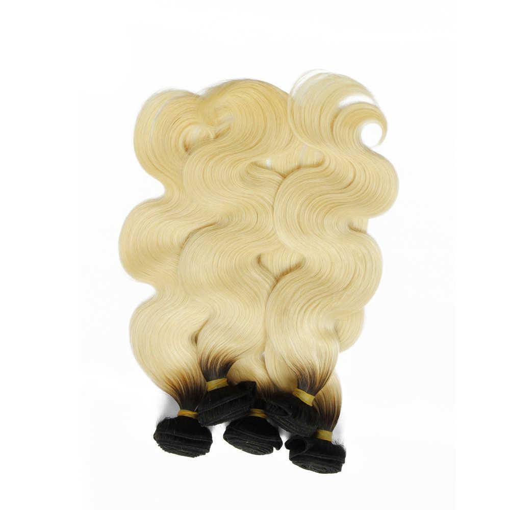 Alibd #1B/613 средства ухода за кожей волна Ombre натуральные волосы блондинка цвет Связки Индийский Девы волос 300 г Бесплатная доставка