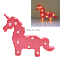 3D Marquee Pink Unicorn Lamp With 9 LED Battery Operated Night Light Warm White #S018Y# High Quality