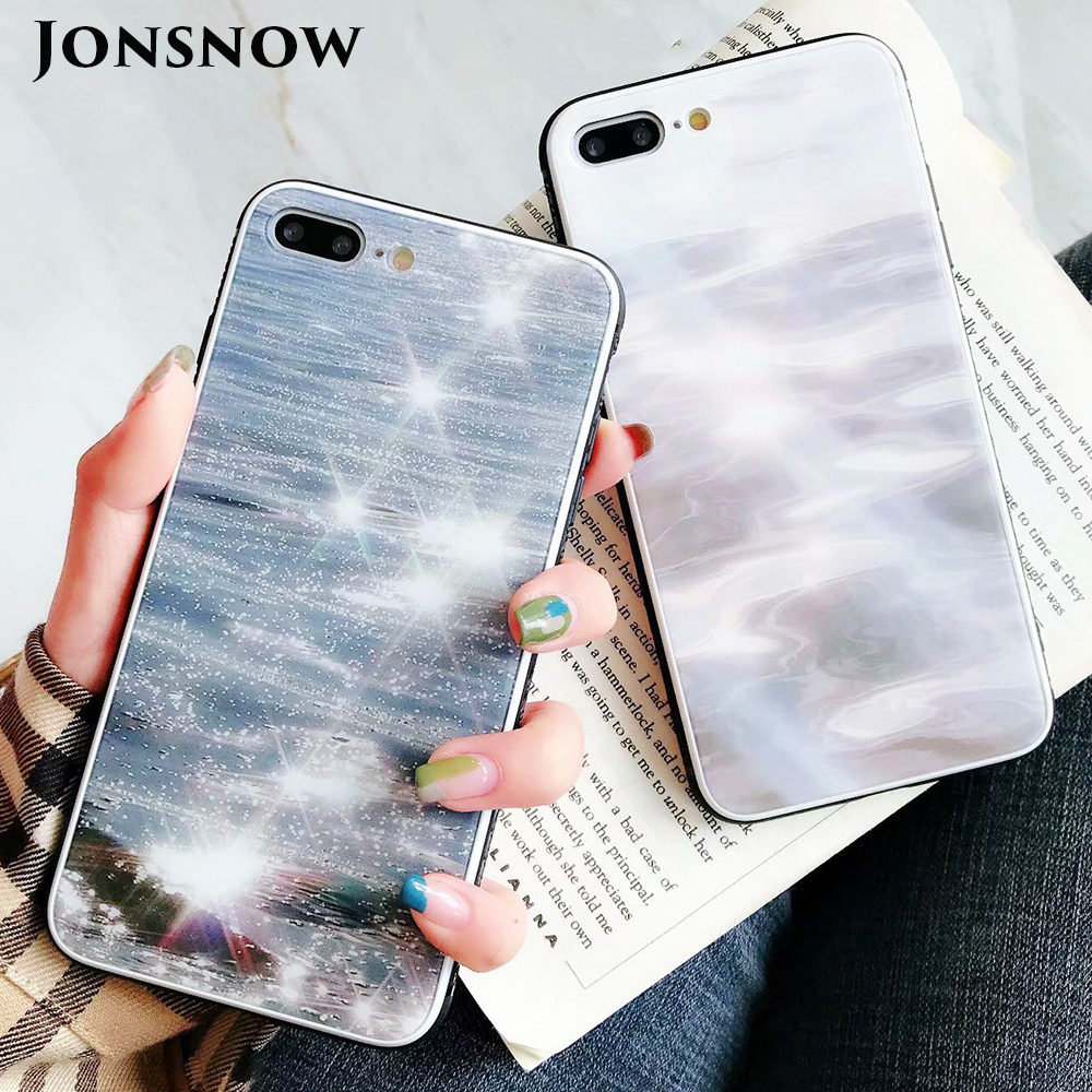 KIP7P1343_1_JONSNOW Phone Case for iPhone 7 Plus 8 6 6S X XR XS Max Tempered Glass Back Cover Anti-slip Soft Edge All-inclusive Protect Case