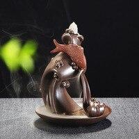 Sazan Tasarım Buda Budist Brülör Backflow Tütsü Brülör 10 Adet Kozalaklar Tütsü Seramik Buhurdan Tutucu Kullanımı Ile Ev Ofis