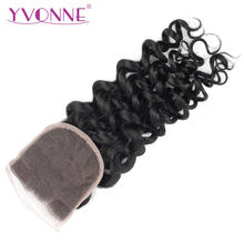 YVONNE Italian Curly Lace Closure Brazilian Virgin Human Hair Closure 4x4 Free Part Natural Color(China)
