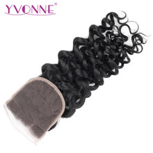 YVONNE Italian Curly Lace Closure Brazilian Virgin Human Hair Closure 4x4 Free Part Natural Color