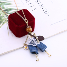 WNGMNGL 2019 Season New Natural Women Bridal Wedding Jewelry Charm Doll Pendant Blue DIY Necklace Flower Small Fresh Necklaces