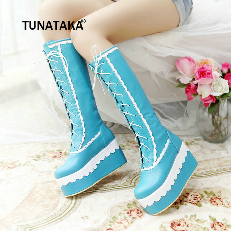 2018 New Women Wedges High Heel Knee High Boots Lace Up Platform Sweet Floral Cosplay Fairy Woman Shoes White Black Pink Blue alfani new blue black women s xl knit floral lace sheer gathered blouse $89 090