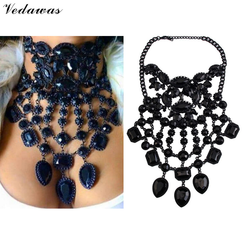 Vedawas Black Collier Vintage Jewelry For Women 2017 New Tassel Maxi Necklace Rhinestone Collar Choker Statement Necklace XG2153