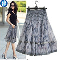 PIKB 2016 GIFT better  lace skirts grace fashion women  skirt  plus size print lace bohemia medium skirt beautiful lady skirt