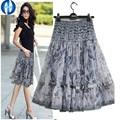 PIKB 2016 GIFT better  lace skirts grace fashion women  skirt  plus size print lace bohemia medium skirt beautiful lady skirt