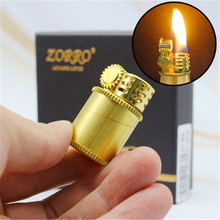 New Creative Flint Kerosene Lighter Portable Copper Shell Capsule Gasoline Lighter Free Fire Inflated Oil Lighter Grinding Wheel