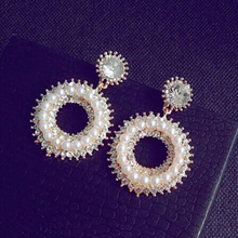 Luxury Unique Chic Round Imitation Pearl Drop Earrings Wedding Brincos Women Jewelry