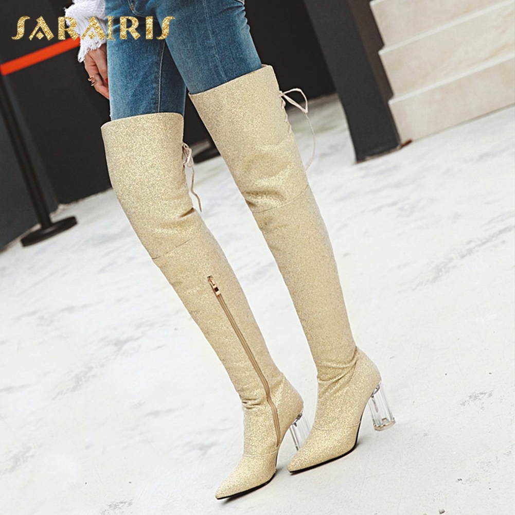 SARAIRIS plus Size 32-43 Sequin Shoes Woman Party Boots Pointed Toe Chunky Heels Over The Knee Boots Woman ShoesSARAIRIS plus Size 32-43 Sequin Shoes Woman Party Boots Pointed Toe Chunky Heels Over The Knee Boots Woman Shoes