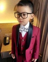 Custom Made Boy Tuxedos Shawl Lapel Children Suit Navy Blue/Dark Red Kid Wedding/Prom Suits (Jacket+Vest+Pants+Tie +Shirt) NH16
