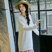 Inman mulher primavera outono roupas em torno do pescoço gota ombro bordado pulôver feminino