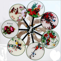 Boutique Floral Round Gift Fan Traditional Chinese Mulberry Silk Fan Decoration Handcrafted Double Embroidered Ladies Hand Fan