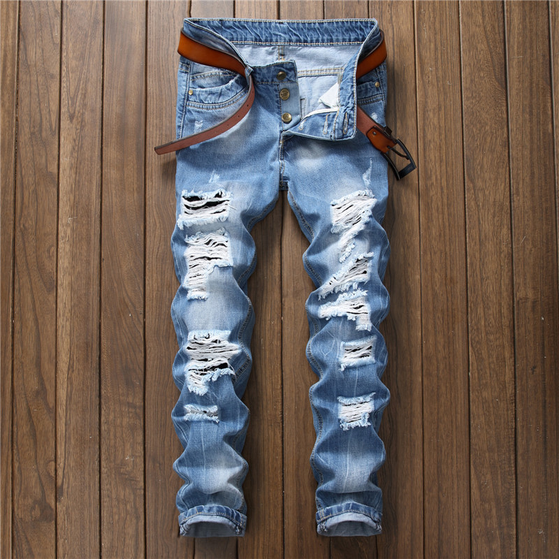 Mens european quality blue jeans distressed jeans for men nightclub ripped slim straight denim pants hole crotch button fly cool