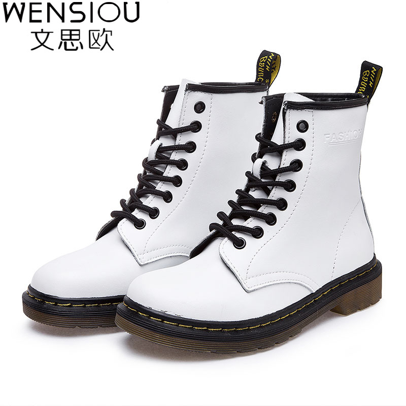 Plus Size Winter Women Boots Fashion Mid Calf Thick Heel Casual Women Short Martin Boots Warm Genuine Leather Riding Boots BT65 double buckle cross straps mid calf boots