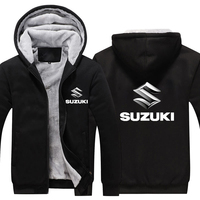 Winter Warm Coat SUZUKI Printed Thicken Hoodie Winter Warm FLeece Zipper Coat Hoodie