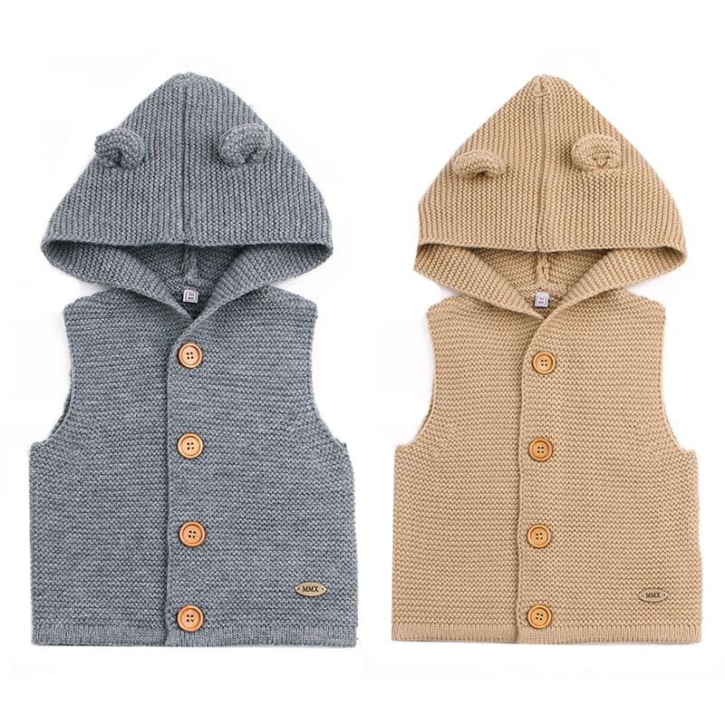 Sweater Jackets Coats Cardigans-Tops Knitting Newborn-Baby Infant Sleeveless Toddler