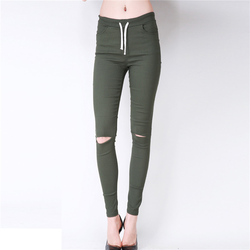 Women Casual Lace-up Long   Pants   New Fashion Torn Hole Knee Skinny Pencil   Pants   Slim   Capris   For Female Trousers Pantalon Femme