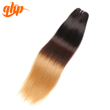 qhp 7A Top Grade Ombre Hair 1B#-4#-27# Straight Hair 1piece 100% Human Hair Extension  Any color can be customized
