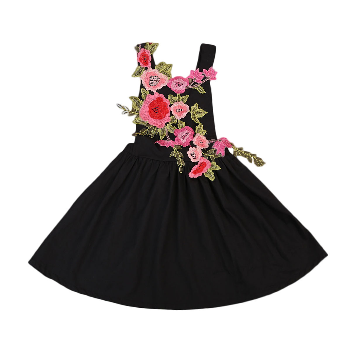 Red Black Kids Girl 3D Flower Princess Dresses Summer Girls Sleeveless Backless Dress Wedding Party Floral Pageant Dress Clothes