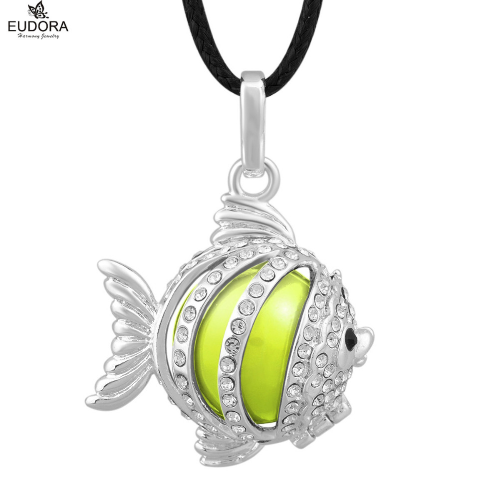 Lovely Fish Cage with White Crystal Angel Caller Pendant Jewelry Mum To Be Gift Chime Ball Harmony Bola Pendants Colar Feminino