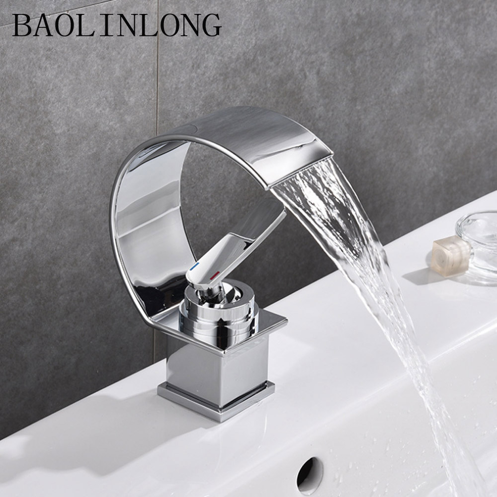 BAOLINLONG Deck Mount Basin Waterfall Faucets Brass Bathroom Faucet Vanity Vessel Sinks Mixer Tap Single Holder