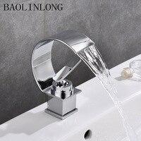 BAOLINLONG Deck Mount Basin Waterfall Faucets Brass Bathroom Faucet Vanity Vessel Sinks Mixer Tap Single Holder Single Hole