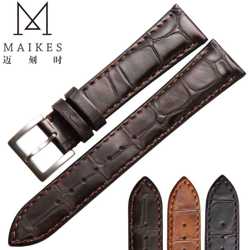 MAIKES High Quality Genuine Leather Watch Strap Men Women 18mm 20mm 22mm Brown Watch Band For