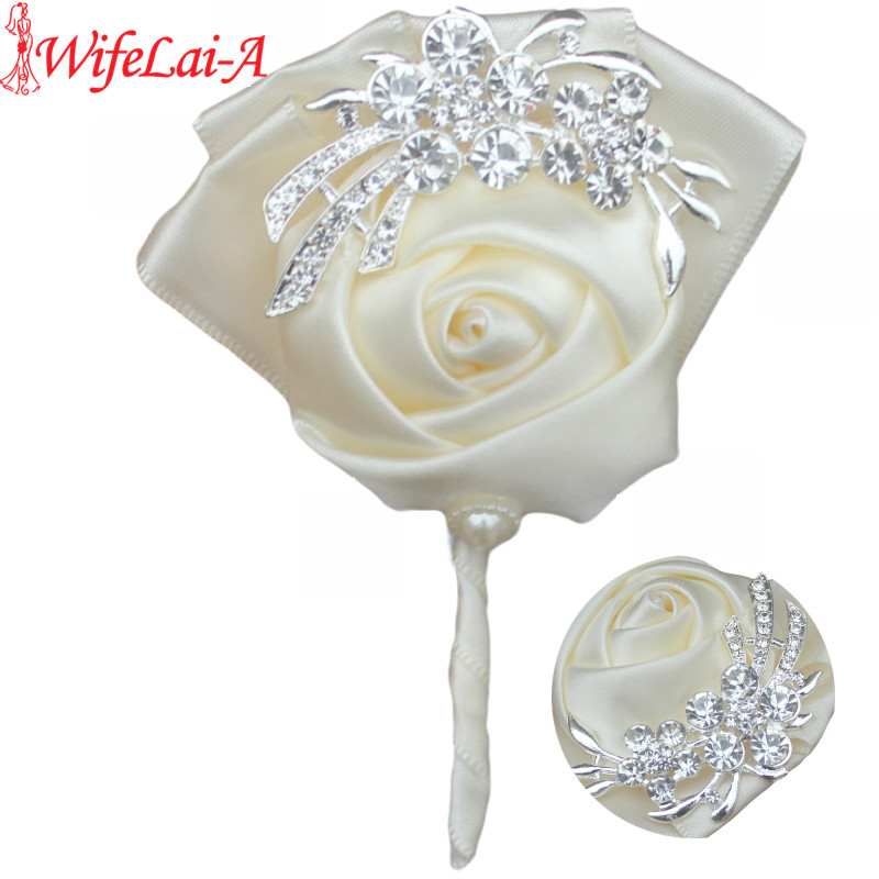 WifeLai-A Handmade Pure Color Bouquet Corsage Diamond Rose Accessories for Wedding Bride and Groom Custom Color X1104