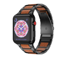 Lightweight Wood strap for Apple Watch Band 4 5 40mm 44mm Metal Wristbands Replacement for Series 3 2 1 42mm 38mm Watches